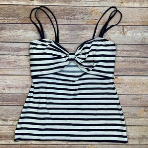 Kate Spade Navy & White Striped Tankini Top